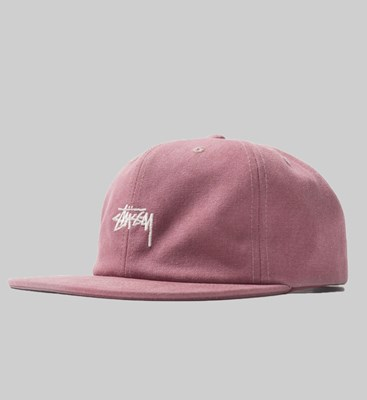 STUSSY STOCK WASHED CANVAS CAP BERRY