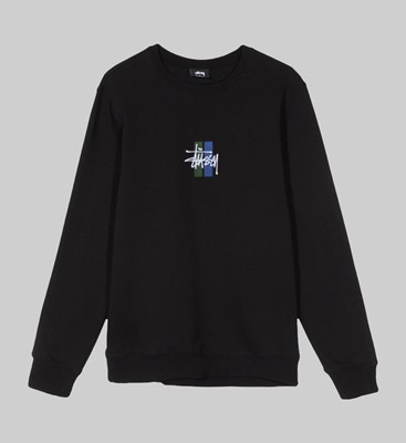 STUSSY 2 BAR STOCK APPLIQUE CREW SWEAT BLACK