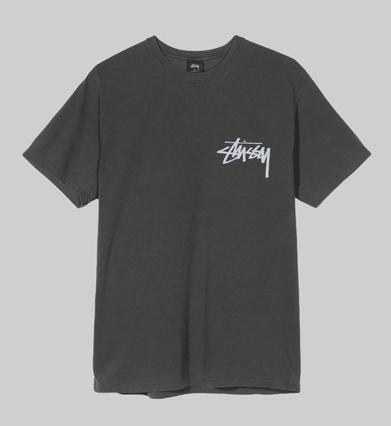 STUSSY STOCK PIGMENT DYED SS T-SHIRT BLACK