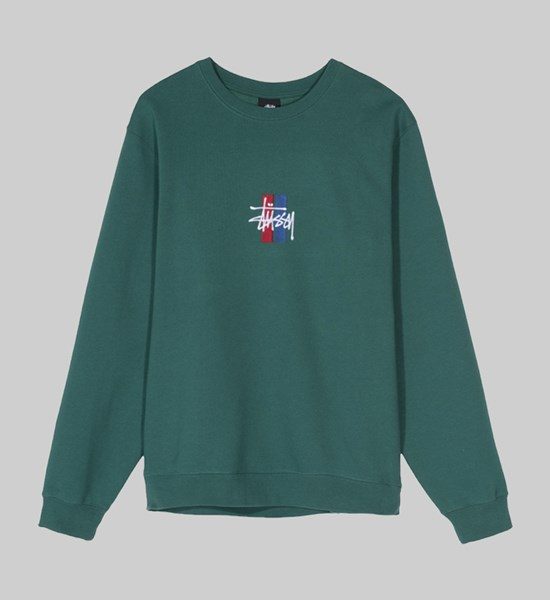 STUSSY 2 BAR STOCK APPLIQUE CREW SWEAT GREEN
