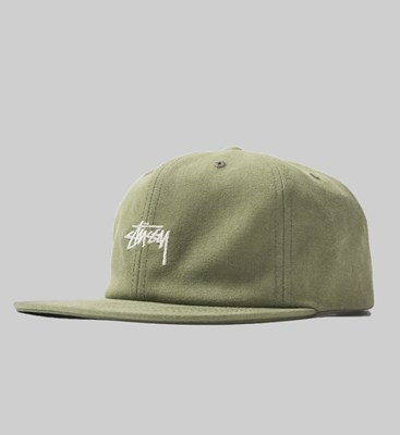 STUSSY STOCK WASHED CANVAS CAP OLIVE