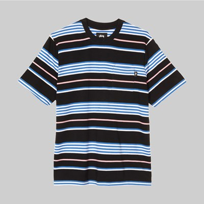 STUSSY THOMAS STRIPE CREW BLACK
