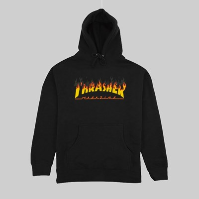 THRASHER BBQ HOODED SWEATSHIRT BLACK