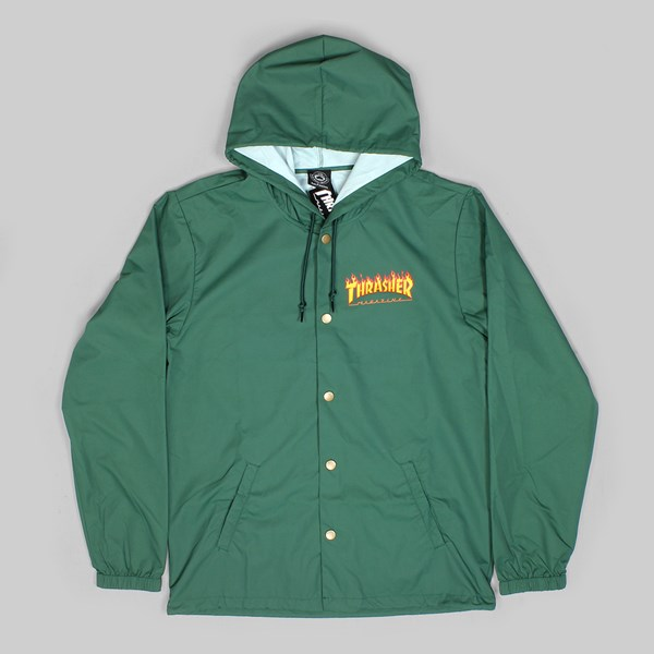 b3876f27 THRASHER FLAME LOGO JACKET FOREST GREEN | THRASHER ...