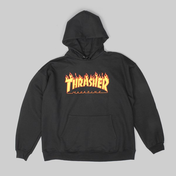 THRASHER FLAME LOGO PO HOOD BLACK