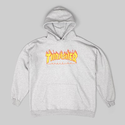 THRASHER FLAME LOGO PO HOOD HEATHER GREY