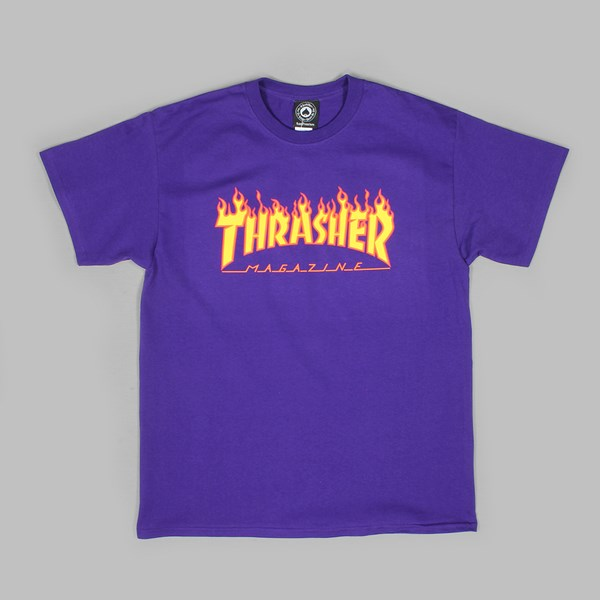 THRASHER FLAME LOGO SS T-SHIRT PURPLE