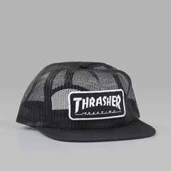 THRASHER LOGO PATCH CAP MESH BLACK WHITE