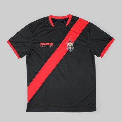 THRASHER MAGAZINE FUTBOL JERSEY BLACK RED