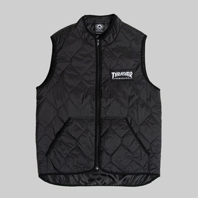 THRASHER MAGAZINE LOGO VEST JACKET BLACK
