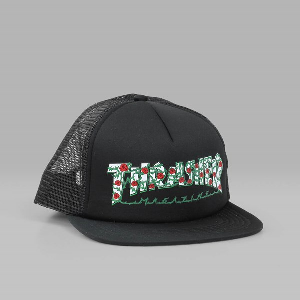 2202b53d84fe7 THRASHER ROSE MESH TRUCKER CAP BLACK