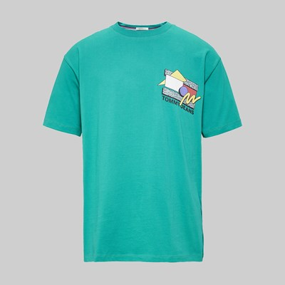 TOMMY JEANS RETRO GEO SS T-SHIRT DYNASTY GREEN