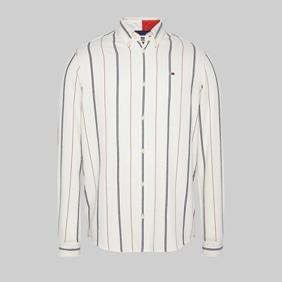 TOMMY JEANS TWILL BACK LOGO LONG SLEEVE SHIRT WHITE