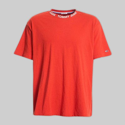 TOMMY JEANS HEATHER BRANDED SS T-SHIRT FLAME SCARLET