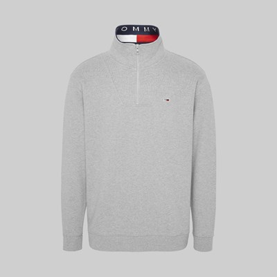 TOMMY JEANS SOLID ZIP MOCK NECK LT. GREY HEATHER