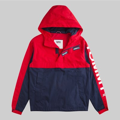 TOMMY JEANS GRAPHIC POPOVER JACKET FLAME SCARLET