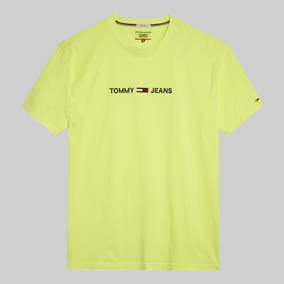 TOMMY JEANS SMALL TEXT TEE SAFETY YELLOW
