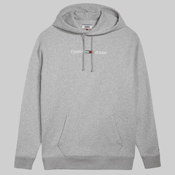 0e2a157d9a5959 TOMMY JEANS SMALL LOGO HOODIE GREY HEATHER