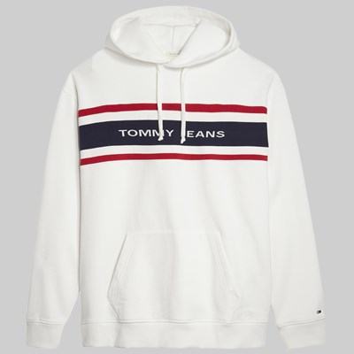 TOMMY JEANS FLEECE HOODIE CLASSIC WHITE