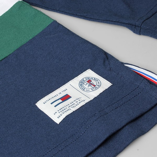 TOMMY JEANS CLASSIC STRIPE HEAVYWEIGHT POLO NAVY GREEN