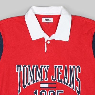 TOMMY JEANS RETRO RUGBY HEAVYWEIGHT RED BLACK