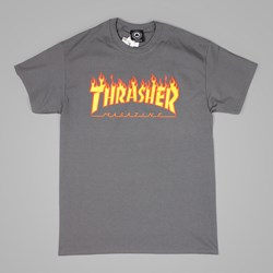 Thrasher T Shirt Flame Logo Charcoal