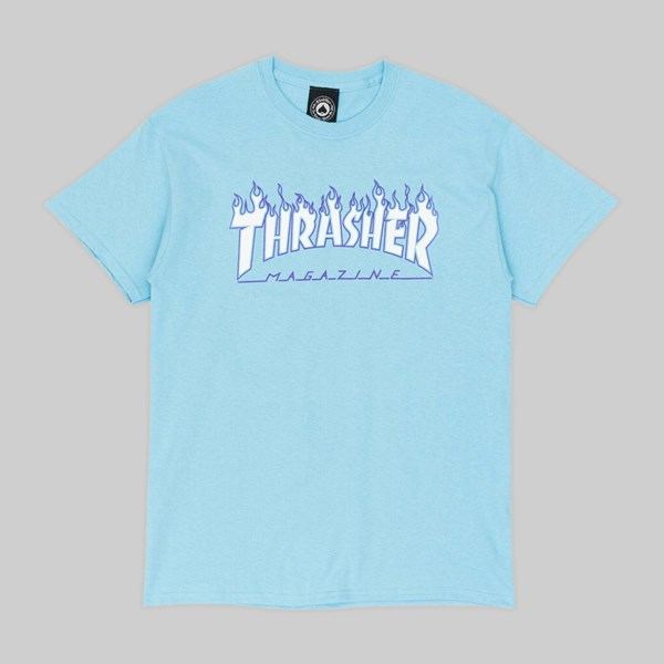 THRASHER FLAME LOGO SS T-SHIRT SKY BLUE