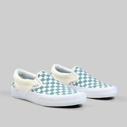 VANS SLIP ON PRO CHECKERBOARD ADRIATIC BLUE WHITE
