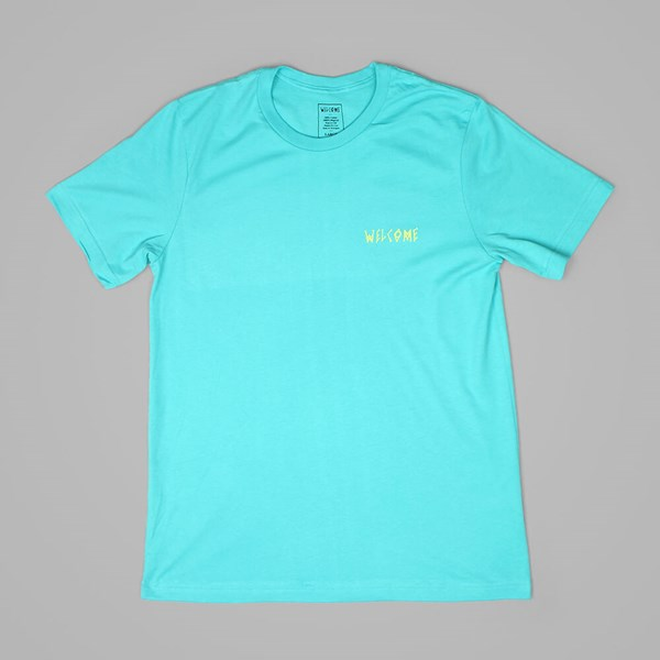 WELCOME LATIN TALISMAN TEE TEAL YELLOW
