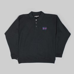 YARDSALE POLO SWEATER LONG SLEEVE BLACK