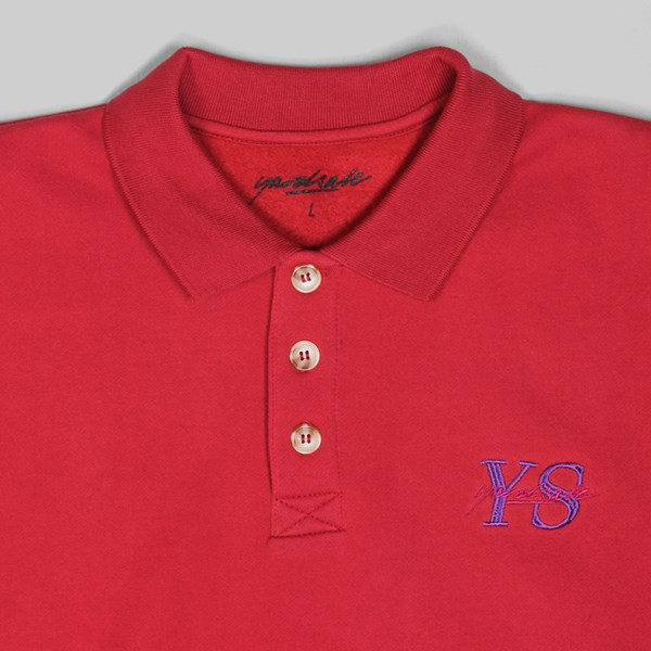 YARDSALE POLO SWEATER LONG SLEEVE DARK RED