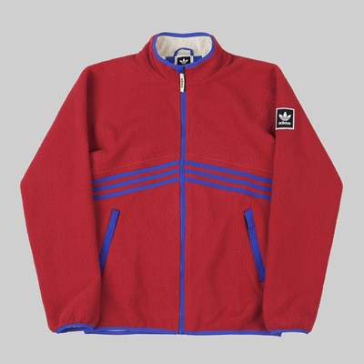 ADIDAS SHERPA FULL ZIP JACKET POWER RED HI RES BLUE