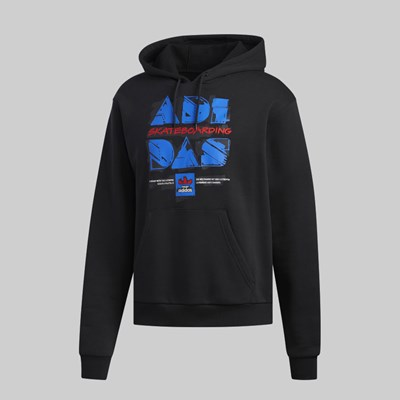 ADIDAS TOOLKIT HOODED FLEECE BLACK BLUE SCARLET