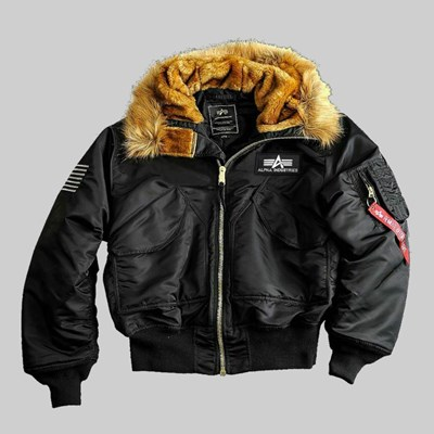 ALPHA INDUSTRIES HOODED JACKET BLACK REFLECTIVE