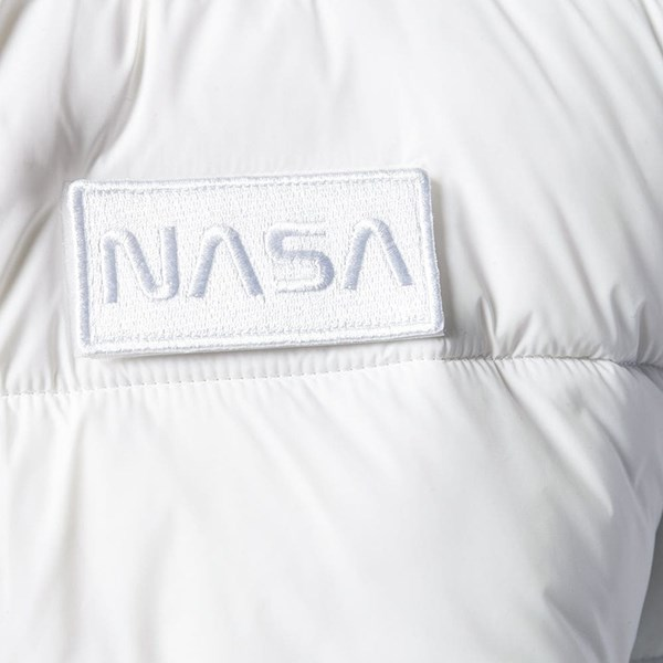 ALPHA INDUSTRIES HOODED PUFFER NASA JACKET WHITE