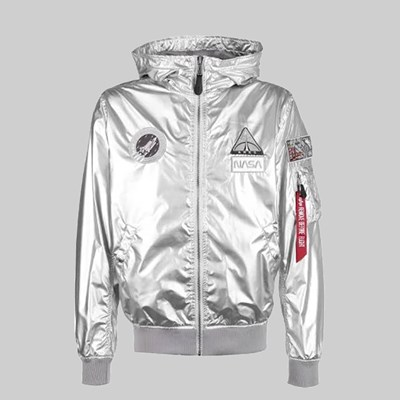 ALPHA INDUSTRIES MA-1 HOODED NASA JACKET SILVER