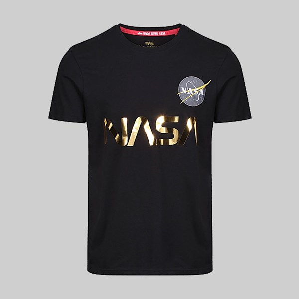 ALPHA INDUSTRIES NASA REFLECTIVE SS T-SHIRT BLACK GOLD