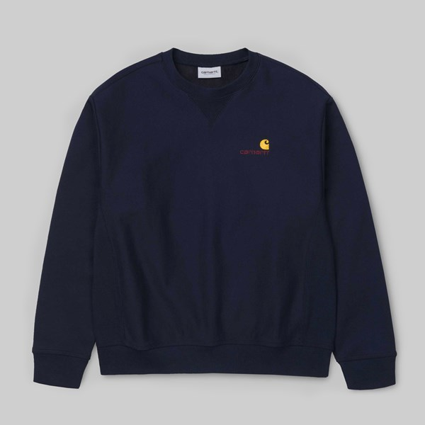 CARHARTT AMERICAN SCRIPT SWEAT DARK NAVY