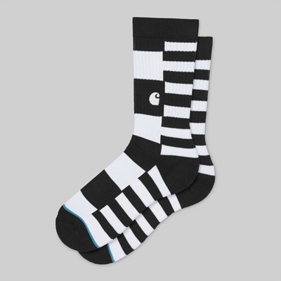 CARHARTT X STANCE SOCKS BARKLEY STRIPE BLACK WHITE