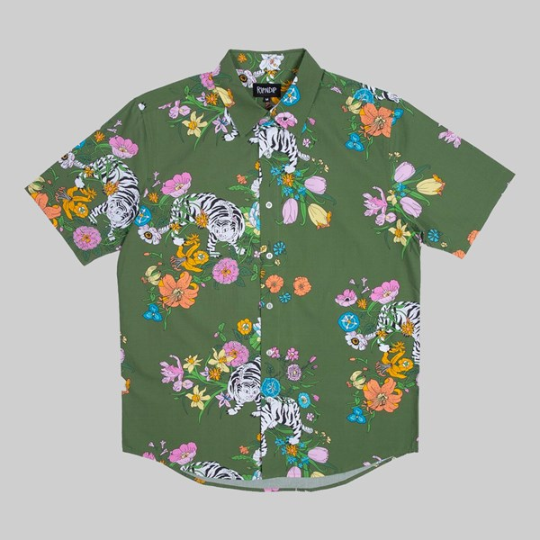 RIP N DIP BLOOMING NERM SS BUTTON UP SHIRT OLIVE