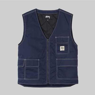 STUSSY POLY COTTON WORK VEST NAVY
