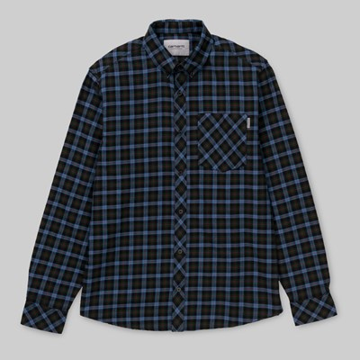 CARHARTT LANARK CHECK LS SHIRT BOTTLE GREEN