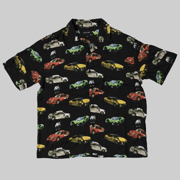 BRONZE 56K WRECKED CARS BUTTON UP SHIRT BLACK