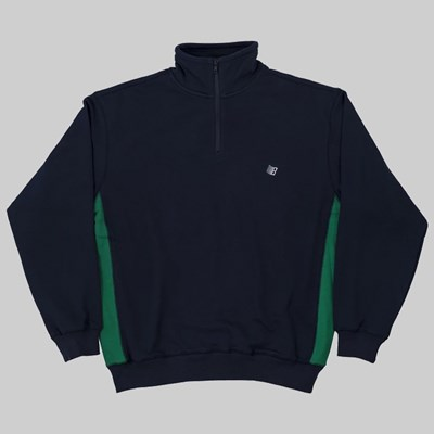 BRONZE 56K QUARTER ZIP MOCK NECK NAVY GREEN