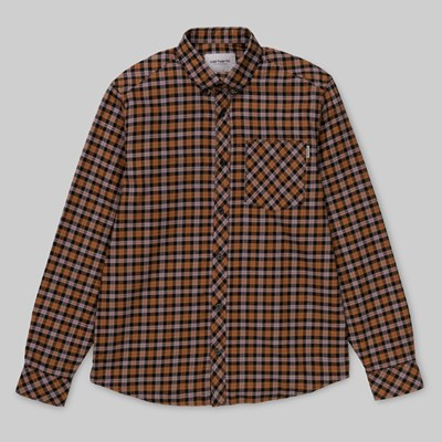 CARHARTT LANARK CHECK LS SHIRT HAMILTON BROWN