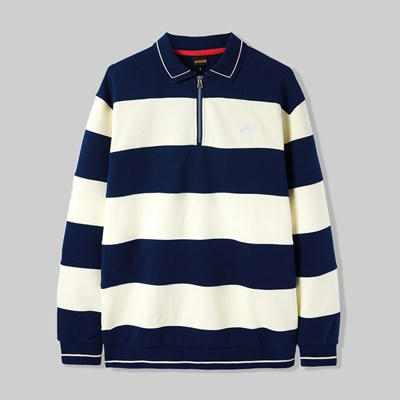 BUTTER GOODS IVY STRIPE ZIP PULLOVER NAVY BONE