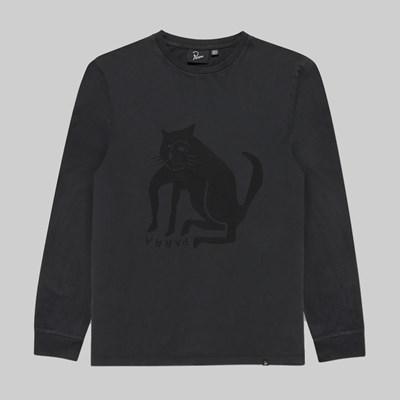 BY PARRA CAT LONG SLEEVE T-SHIRT WASHED BLACK