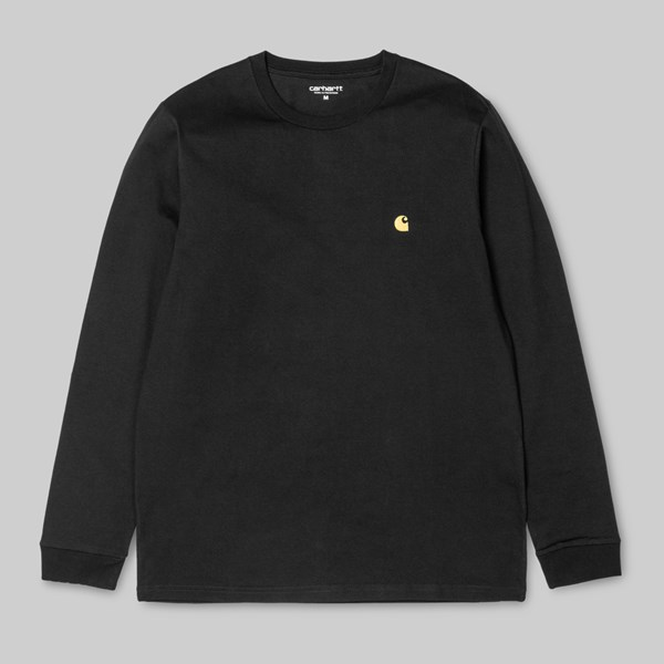 CARHARTT CHASE LONG SLEEVE T-SHIRT BLACK GOLD