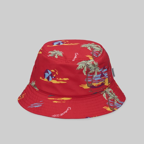 CARHARTT WIP BEACH BUCKET HAT BEACH PRINT ETNA RED