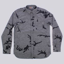Carhartt Bowie Long Sleeve Shirt Camo Lines Black Soot Rinse